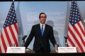 US Treasury Secretary Steven Mnuchin arrives at a news conference after the gathering of G7 finance ministers in Whistler, British Columbia, Canada, on Saturday. Photo: Reuters