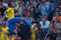 Brazil's Neymar celebrates scoring during the international friendly against Croatia. Photo: EPA
