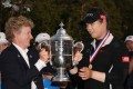 Ariya Jutanugarn of Thailand is awarded the 2018 US Women's Open trophy after winning in a play-off. Photo: AFP