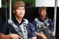 Gurkhas man a checkpoint at the IISS Shangri-La Dialogue in Singapore on June 1. The specialised force is expected to be deployed for the summit between Kim Jong-un and Donald Trump on June 12. Photo: Reuters