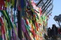 Reunification ribbons at the demilitarised zone between the two Koreas. Photo: AFP