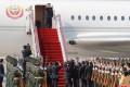 Kim Jong-un arrives at Dalian airport on May 8 on North Korea's Air Force Un. Photo: EPA-EFE/KCNA