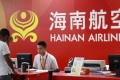 A Hainan Airlines desk at Haikou airport in Hainan province. Photo: Reuters