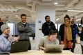 A fun speed typing competition at Chengbao, part of the company policy of fostering a good work-life balance to inspire creativity.