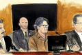 In this April 13 courtroom sketch Keith Raniere, second from right, leader of the secretive group NXIVM, attends a court hearing in the Brooklyn borough of New York. Artwork: Elizabeth Williams via AP