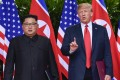US President Donald Trump makes a statement on June 12 before saying goodbye to North Korea leader Kim Jong-un after their meetings in Singapore. Photo: AP