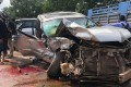 Cambodia's Prince Norodom Ranariddh's mangled car outside Sihanoukville, Cambodia, on Sunday, June 17, 2018. Photo: AP