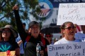 """Immigration advocates from the Border Network for Human Rights march to protest the administration's """"zero tolerance policy"""" on immigration in El Paso, Texas, on Tuesday. Photo: Reuters"""