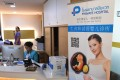 A poster in Chinese promoting in vitro fertilisation displayed in the lobby of Piyavate Hospital in Bangkok specialising in fertility treatment. Photo: AFP