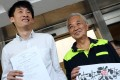 Kwok Cheuk-kin (right), accompanied Sixtus Leung to the High Court on Thursday as he presented his application for a judicial review into the co-location bill. Photo: K.Y. Cheng