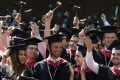 Harvard University's graduating law students celebrate on May 24. Admission protocols at many US universities, especially those most sought after, analyse not just academic achievement but also other criteria, such as musical and artistic ability, athletic prowess and community volunteering. Photo: AP