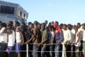 African migrants rescued by Libya's coastguard are brought to the naval base of the capital Tripoli on June 21. Photo: Agence France-Presse