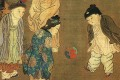 A Song dynasty painting shows children playing with a ball.