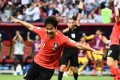 South Korea defender Kim Young-gwon celebrates after scoring against Germany. Photo: AFP