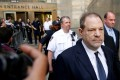 Disgraced film producer Harvey Weinstein leaves court in New York in June. Photo: Reuters