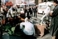 Patients receive treatment in front of Tsukiji Station, in Tokyo, on March 20, 1995, after a sarin gas attack by the Aum Shinrikyo cult. Picture: Kyodo