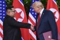 North Korea leader Kim Jong-un (left) and US President Donald Trump wrap up their Singapore meeting. Photo: AP
