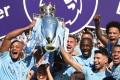 Manchester City celebrate winning the Premier League last season. Photo: AFP
