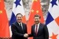 Panamanian President Juan Carlos Varela with China's President Xi Jinping in Beijing in November. Photo: Reuters