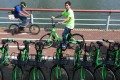 CEO and co-founder Raphael Cohen at the launch of Gobee.bike in Sha Tin on April 19, 2017. Photo: SCMP/Felix Wong