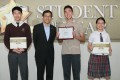 Mah Shao-qian, third from left, won in March the Scientist and Mathematician category of the South China Morning Post's annual Student of the Year Awards, sponsored by The Hong Kong Jockey Club. He is flanked, from left, by second runner-up Wong Man-ho, Hong Kong Science and Technology Parks Corp chief executive Albert Wong Hak-keung, and first runner-up Cheng Nga-ting. Photo: Handout