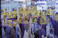The object detection and tracking technology developed by SenseTime Group is displayed on a screen at the Artificial Intelligence Exhibition & Conference in Tokyo in April this year. Photo: Bloomberg