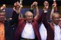 Malaysian Prime Minister Mahathir Mohamad celebrates his election win in Kuala Lumpur. Photo: AFP