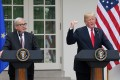 US President Donald Trump speaks as European Commission President Jean-Claude Juncker looks on during a press conference at the White House on Wednesday. Photo: Abaca Press via TNS