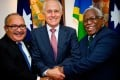 Papua New Guinea's Prime Minister Peter O'Neill, Australian Prime Minister Malcolm Turnbull and Prime Minister of the Solomon Islands Rick Houenipwela. Photo: AFP
