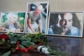 Photographs of journalists (from left) Alexander Rastorguyev, Kirill Radchenko and Orhan Dzhemal. Photo: Reuters