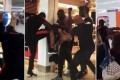Scenes from the wild brawl between French rappers Booba and Kaaris and their entourages, at the departures hall of Orly airport in Paris. Photos: Twitter