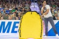 Dave Castro unveils the rescue sled that will be used for the team swim event on Saturday. Photos: Twitter/@CrossFitGames