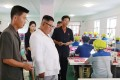 North Korean leader Kim Jong-un inspects a bag factory in the country's Kangwon province in an undated picture released late last month by the official Korean Central News Agency. Photo: AFP/KCNA via KNS