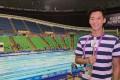Dickson Yu reports for TVB Sport News. Photo: Facebook