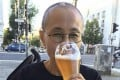 Liu Xia enjoys a beer in Berlin, her home of just over a month. Photo: courtesy of Liao Yiwu