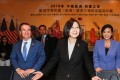 Taiwanese President Tsai Ing-wen, with US Representative Ed Royce, and US Congresswoman Judy Chu at the Los Angeles Overseas Chinese Banquet on Sunday. Photo: Reuters