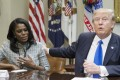 US President Donald Trump speaks beside Omarosa Manigault-Newman, then director of communications for the Office of Public Liaison, during a meeting on African American History Month in the Roosevelt Room of the White House in Washington on February 1, 2017. Photo: EPA-EFE