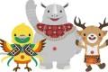 Asian Games mascots Bhin Bhin the bird of paradise, Atung the deer and Kaka the rhino. Photo: Handout