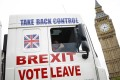 A truck driven by a Leave supporter promotes Brexit in Parliament Square, London, in June 2016. Photo: Reuters