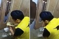 The delivery man was filmed on CCTV eating in the lift. Photo: ifeng.com