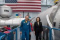Taiwanese President Tsai Ing-wen (right) tours the Johnson Space Centre in Houston accompanied by US astronaut Edward Michael Fincke on Sunday. Photo: EPA-EFE