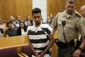 Cristhian Bahena Rivera is led into a courtroom for his initial appearance on Wednesday at the Poweshiek County Courthouse in Montezuma, Iowa. Rivera is charged with first-degree murder in the death of Mollie Tibbetts. Photo: AP