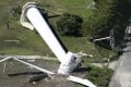 A fallen windmill at Hokudan Earthquake Memorial Park. Photo: AP