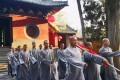 The high-profile ceremony was held at the temple on Mount Song as part of a government patriotism drive. Photo: Weibo