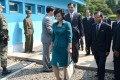 Kim Song-hye (centre), a senior official of North Korean Committee for the Peaceful Reunification of Korea, walks with other North Korean delegates across border separating the two Koreas on June 9, 2013. Kim was reportedly involved in a meeting last month with a Japanese official in Vietnam. Photo: Reuters