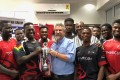 The Ghana Eagles rugby squad thank with their sponsor, Panafrican Equipment, for its support in winning the 2018 Rugby Africa Bronze Cup in May.