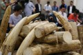 A seizure of 790kg of ivory valued at about HK$7.9 million at Hong Kong International Airport. Photo: Nora Tam