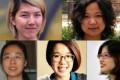 China's Feminist Five (clockwise from top left) Li Tingting, Wu Rongrong, Zheng Churan, Wei Tingting, Wang Man. Picture: AFP