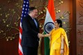US Secretary of State Mike Pompeo meets India's Foreign Minister Sushma Swaraj in New Delhi. Photo: Reuters