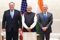 Indian Prime Minister Narendra Modi flanked by US Secretary of State Mike Pompeo and Secretary of Defence James Mattis before a meeting in New Delhi on Thursday. Photo Reuters